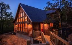 Exterior Twilight 4 Hideaway At Clear Sky Ridge Cabin Rentals Near Wolf Pen Gap In Mena Arkansas 255x160 C