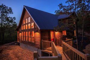 Exterior Twilight 4 Hideaway At Clear Sky Ridge Cabin Rentals Near Wolf Pen Gap In Mena Arkansas