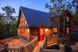 Exterior Twilight 5 Hideaway At Clear Sky Ridge Cabin Rentals Near Wolf Pen Gap In Mena Arkansas