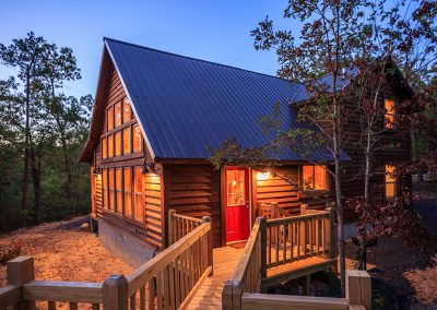 Exterior Twilight 5 Hideaway At Clear Sky Ridge Cabin Rentals Near Wolf Pen Gap In Mena Arkansas