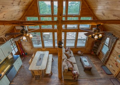 Kitchen And Living Area Overhead 1 Clear Sky Ridge Cabin Rentals Near Wolf Pen Gap In Mena Arkansas 1