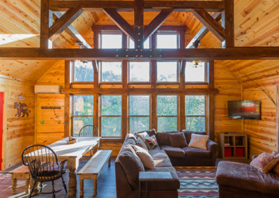 Living Area And Kitchen 2 Vertical Hideaway At Clear Sky Ridge Cabin Rentals Near Wolf Pen Gap In Mena Arkansas