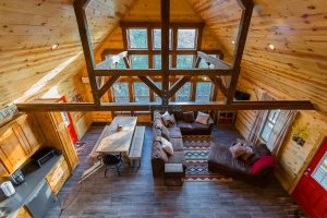Living Area And Kitchen 3 Overhead Hideaway At Clear Sky Ridge Cabin Rentals Near Wolf Pen Gap In Mena Arkansas