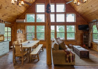 Living Room And Kitchen 1 Clear Sky Ridge Cabin Rentals Near Wolf Pen Gap In Mena Arkansas