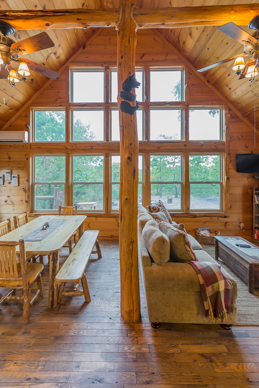 Living Room And Kitchen 2 Vertical Clear Sky Ridge Cabin Rentals Near Wolf  Pen Gap In Mena Arkansas 1